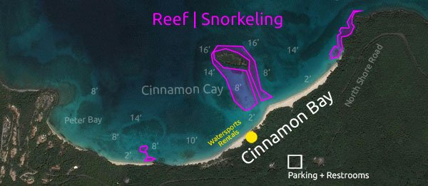 Cinnamon Bay Resort & Campground snorkeling map