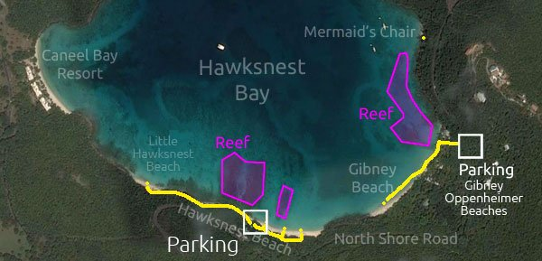 Hawksnest Beach snorkeling map