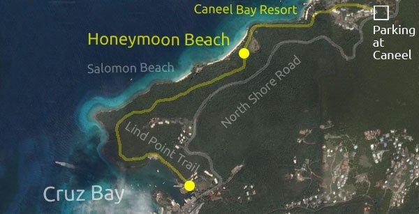 Honeymoon Beach, St John directions map