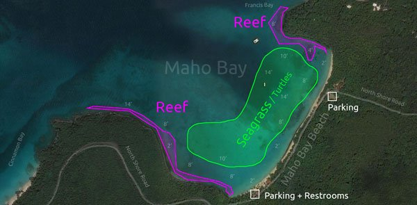 Maho Bay Beach snorkeling map