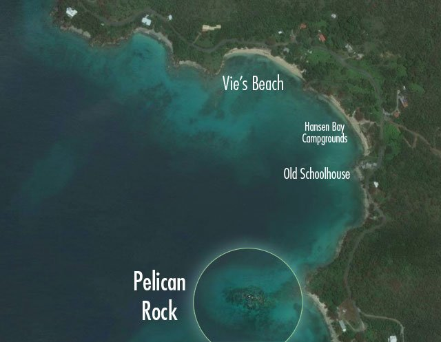 Aerial showing Pelican Rock location and directions