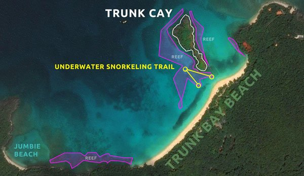 Trunk Bay Underwater Snorkeling Trail Map