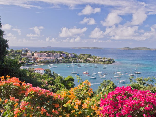 Cruz Bay, St John harbor view from Estate Lindholm