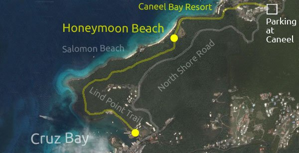 Honeymoon Beach, St John directions map