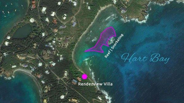 Hart Bay, St John snorkeling map